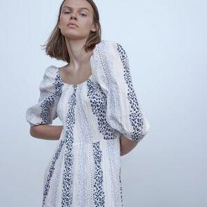 ZARA PRINTED AND EMBROIDERED DRESS XS